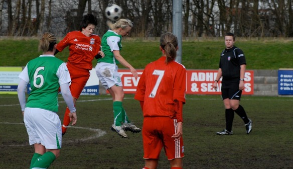 Megan contests a header