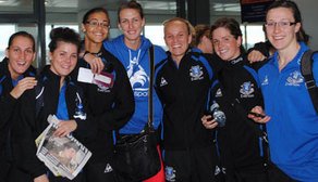 Everton Ladies at Manchester Airport shortly before they depart for Germany