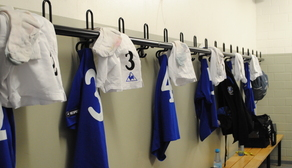 The away dressing room at Duisburg's PCC Stadion