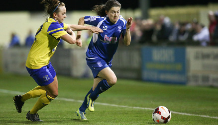 Player of the Match Karen Carney goes by Everton's Billie Murphy