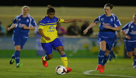 Nikita Parris tries to weave her way past the Birmingham defence