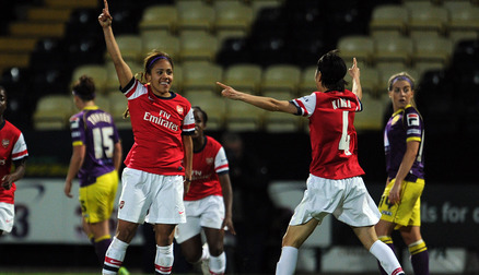 Alex Scott celebrates scoring for Arsenal