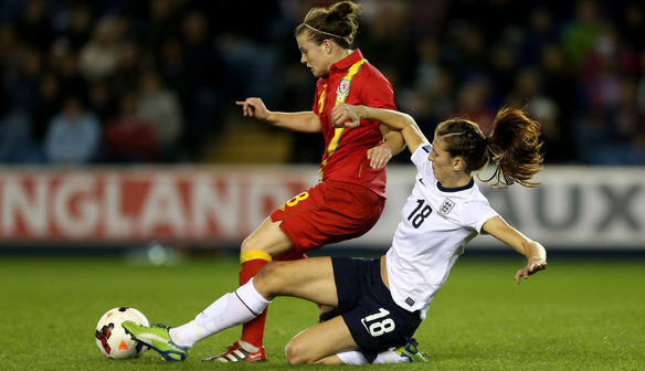 Jill Scott in action against Wales