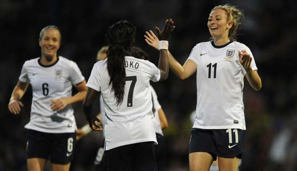 Toni Duggan celebrates a goal against Turkey