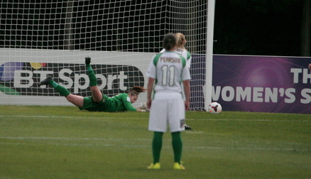 Demi Lambourne saves Laura Bray's penalty