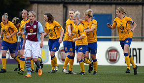 Team Celebrates V Aston Villa Ladies