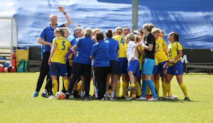 TOGETHER: Belles come together following Conti Cup victory over Sunderland