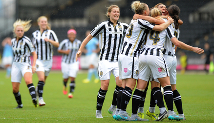 The team celebrate Rachel Williams' late equaliser