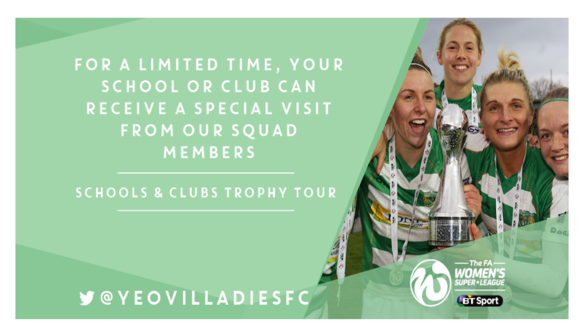 FA WSL 2 Champions offering a Schools and Clubs Trophy Tour
