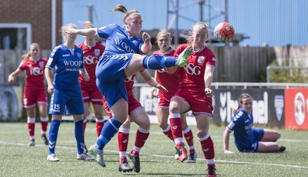 Sarah Wilson in action against Bristol City