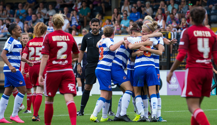 The team celebrate Melissa Fletcher's brilliant header vs Birmingham City Ladies