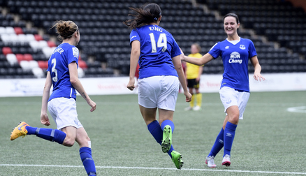 Jess King celebrates her goal against Aston Villa.