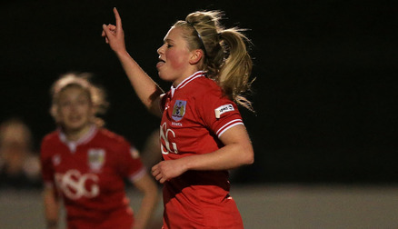 Millie Farrow celebrates after scoring against Yeovil Town Ladies