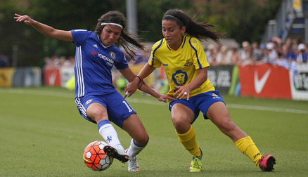 CHALLENGE: Maz Pacheco hunts down the ball against Chelsea