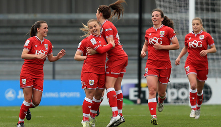 Paige Sawyer celebrates Bristol City Women's 3rd goal against London Bees