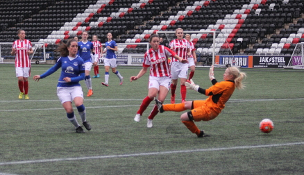 Michelle Hinnigan scores Everton's fourth goal against Stoke City Ladies.