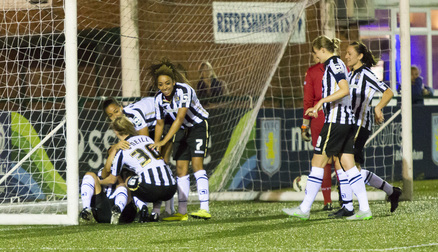 The team celebrate the final goal of the night.
