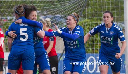 Natalie Gutteridge celebrates after scoring, Durham WFC 1-0 Sheffield