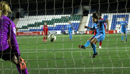Brooke Chaplen scores from the spot against Liverpool