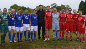 LFC and EFC Ladies with Gethin Jones at Claire House