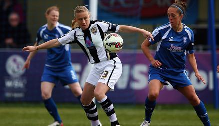 Laura Bassett battles with Jo Potter
