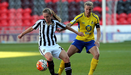 TRACKING: Leandra Little keeps her eye on the ball against Notts County