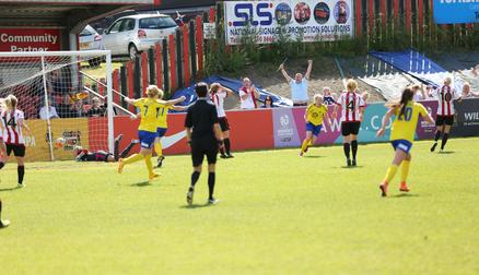 CUP: Lauren Cresswell heads home the match-winner v Sunderland Ladies