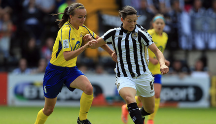 TUSSLE: Kasia Lipka fights for possession against Notts County