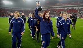 Players parade WSL2 Trophy at Stadium of Light