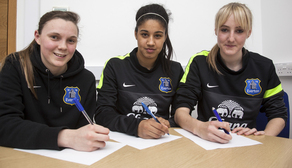 Megan Walsh, Gabby George and Millie Turner sign their senior contracts