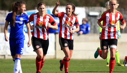 Lucy Staniforth celebrates goal against Chelsea