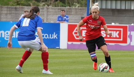 Battling with Lucy Quinn in the FA WPL Play Off Final