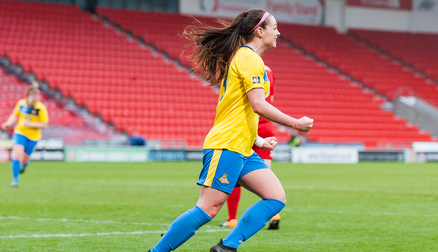 Sam Tierney celebrates her first goal for the club (credit: Stephen Connor)