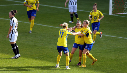 CELEBRATIONS: Carla Humphrey celebrates giving the Belles the lead