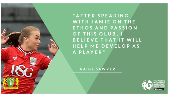 New Yeovil Town Ladies signing Paige Sawyer has come in from Bristol City