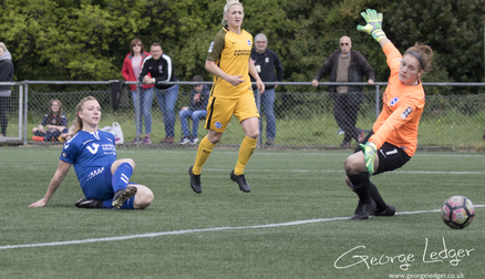Emily Roberts scoring a goal, Durham WFC 4 - 0 Brighton and Hove Albion