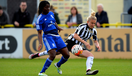 Captain Laura Bassett tackles Ayisi in the defeat.
