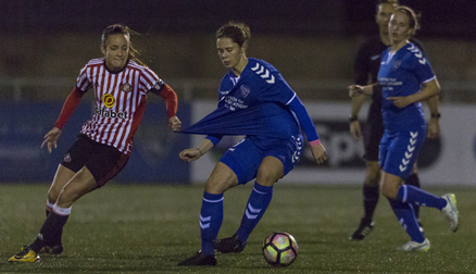 Zoe Ness under close marking - Durham 0 - 0 Sunderland AFC