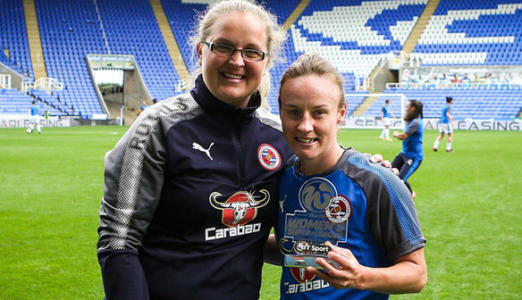 Remi Allen (right) poses with her FA WSL 1 player of the month award