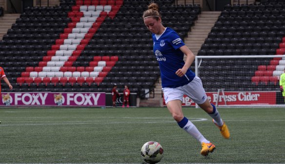 Danielle Turner drives forward with the ball in the win against Millwall.