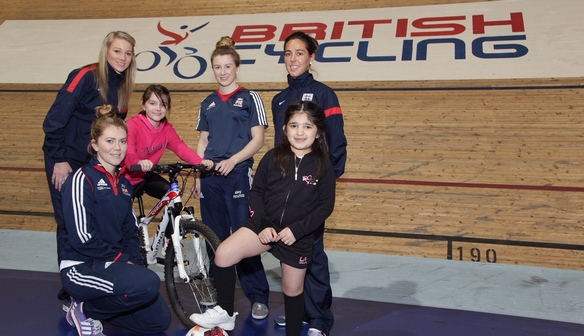 Gemma Bonner and Fara Williams at the British Cycling Centre