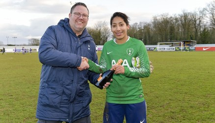 Leon was presented with 'Player of the Match' by Spurs Ladies Supporters Group
