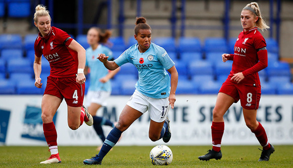 Nikita Parris (centre) in action against Liverpool