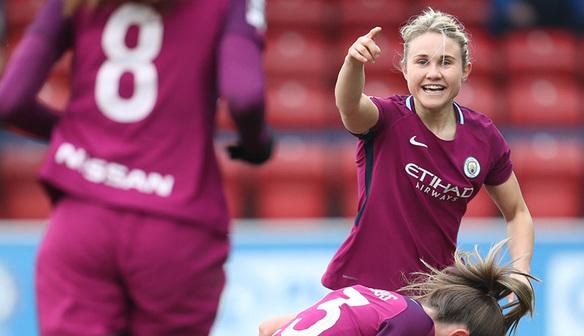 Isobel Christiansen celebrates as Man City beat Chelsea