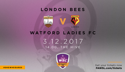 Come along and watch the Bees take on Watford Ladies in the final group stage of the Continental Cup.
