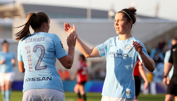 Stanway's double gets Man City back on track