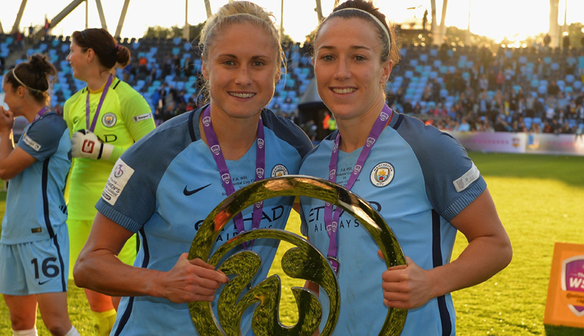 Man City duo Steph Houghton (left) and Lucy Bronze