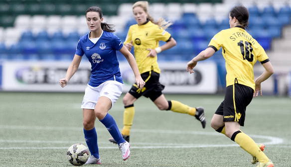 Lauren Davies in action against Aston Villa.