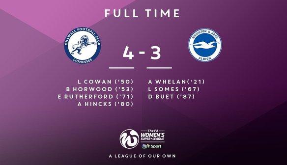 Oct 8 Millwall Lionesses 4 Brighton & Hove Albion 3