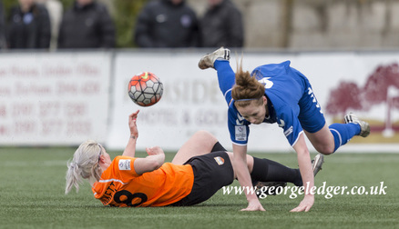 Nicki Gears is tackled during the 2-0 win over London Bees.